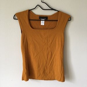 Vintage mustard yellow square neck knit tank